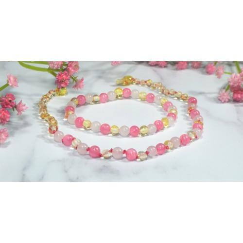 Irréversible - Box collier d'ambre lemon / Quartz rose
