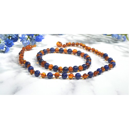 Irréversible - Box collier d'ambre cognac / Lapis Lazuli