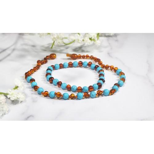 Irréversible - Box collier d'ambre cognac /Turquoise bleue