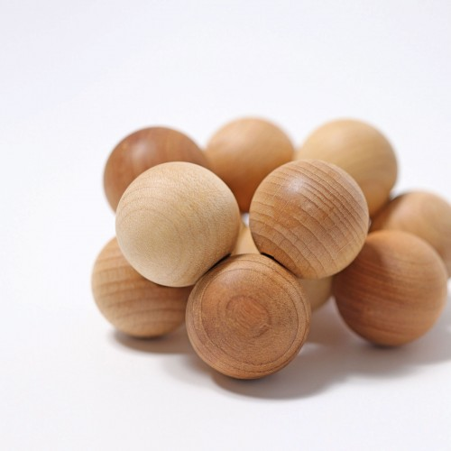 Grimm's - Hochet perles de bois nature