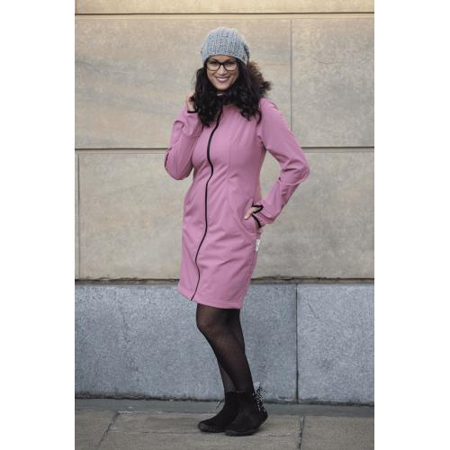 AngelWings - Manteau Softshell avec fourure vieux rose