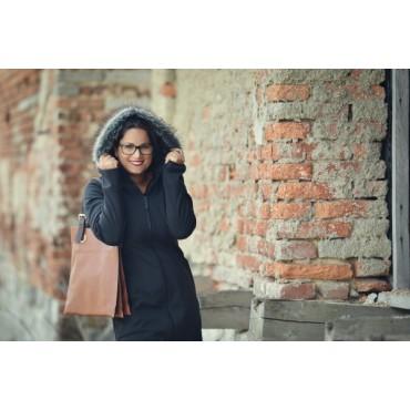 AngelWings - Manteau Softshell avec fourure noir